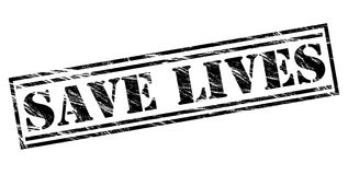 Save lives black stamp. Save lives stamp isolated on white background Royalty Free Stock Image