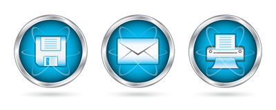 Save mail print icon set buttons Royalty Free Stock Photos