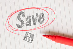 Save memo with a red circle Royalty Free Stock Photos