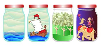 Save the memories of summer. Vector allegorical illustration with sea, ship, forest and tropical animals in jar. Stock Photos