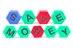 Save money. Colored alphabets giving message to save money Royalty Free Stock Photography