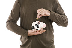 Save money. Man inserting money in a piggy bank is a cow Royalty Free Stock Photo