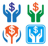 Save money. Concept with dollar in hand symbol Royalty Free Stock Photo