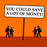 Save money. Saving a lot of money by spending wisely Royalty Free Stock Photography