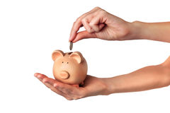 Save money. Hand putting coin into a piggy bank stock photo