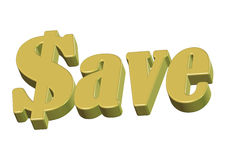 Save Money. 3D of save money text a conceptual discount sale and saving up money royalty free illustration