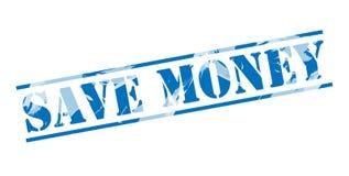 Save money blue stamp Royalty Free Stock Image