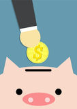 Save money. Businessman's hand carry coin of dollar and pink piggy bank on blue background Stock Images
