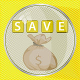 Save money button concept. illustration Royalty Free Stock Photography