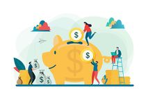 Save money concept. Business finance and investment. Large piggy bank. Flat cartoon character graphic design. Landing page template,banner,flyer,poster,web stock illustration