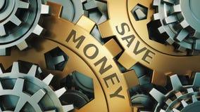Save money concept. Gold and silver gear weel background illustration. 3d render royalty free illustration