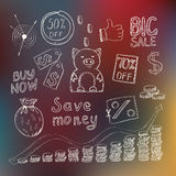 Save money concept. With hand drawn doodle icons, pink piggy bank, sale coupons and golden coins on defocused colored background. Vector illustration Royalty Free Stock Images