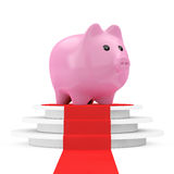 Save Money Concept. Piggy Bank over Winner Podium with Red Carpe Royalty Free Stock Photography