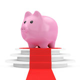 Save Money Concept. Piggy Bank over Winner Podium with Red Carpe Royalty Free Stock Images