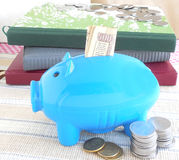 Save Money. Concept of saving money, indicated through Indian rupees inserted into a piggy bank Stock Images