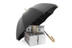 Save Money Concept. Stack of banknotes under umbrella Stock Photo
