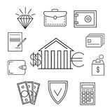 Save money or finance line art concept. Investment and wealth, vector illustration Royalty Free Stock Photos