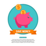 Save money financial concept. Flat design. Background for your presentation or web design with place for text. Vector illustration Royalty Free Stock Photos