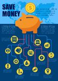 Save money flat infographic. Vector illustration. Piggy bank with financial profit finance symbols and icons for print media websites. Place for text. Isolated Stock Photos
