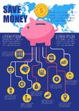 Save money flat infographic. Vector illustration. Piggy bank with financial profit finance symbols and icons for print media websites. Place for text. Isolated Stock Photo