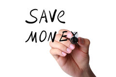 Save money hand marker Stock Photo