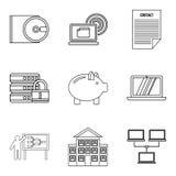 Save money icons set, outline style. Save money icons set. Outline set of 9 save money vector icons for web isolated on white background Stock Photo