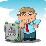 Save money. Illustration of someone who put their money in the vault Stock Photography