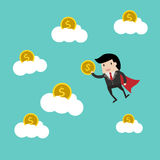 Save money for investment concept,cartoon businessman with money in his hand to save. cartoon  illu. Vector business finance. save money for investment concept Royalty Free Stock Photo