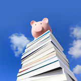 Save money by knowledge. Pink piggy bank on stack Of books Against Blue Sky royalty free stock photo