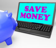 Save Money Laptop Shows Spare Cash And Savings Stock Photos