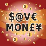 Save Money - Letter and Money Currency Symbols Stock Photos