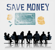 Save Money Managment Economy Finance Concept. Businesspeople meeting economy save money word graphic Royalty Free Stock Images