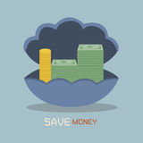 Save money. On Nacre concept Royalty Free Stock Photo