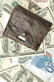 Save the money - old wallet, US dollars Royalty Free Stock Images