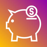 Save money pig bank icon in trendy flat style isolated on grey background. Internet and ecommerce symbol for your design, logo, UI Royalty Free Stock Photos