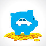 Save money in piggy bank for purchase car Stock Image
