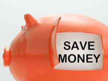 Save Money Piggy Bank Shows Putting Aside Funds Royalty Free Stock Images