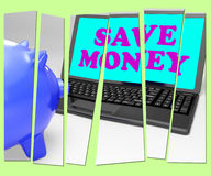 Save Money Piggy Bank Shows Spare Cash And Savings Royalty Free Stock Photo