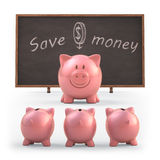 Save Money. Piggy bank teaching students to save money. Clipping path included Stock Photography