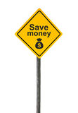 Save money road sign. Save money road sign with symbol sack dollar currency isolated on white background stock image