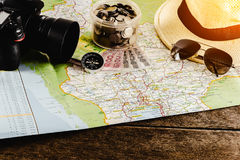 Save money for travel trip. Travel accessories for the travel tr Stock Photos