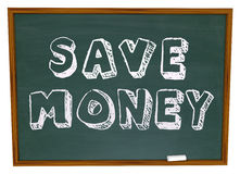 Save Money Words on Chalkboard Education Savings Royalty Free Stock Images
