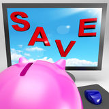 Save On Monitor Shows Big Promotions Royalty Free Stock Photo