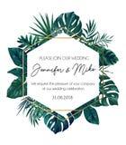 Save nasz daktylowego ślubnego zaproszenie projekt Elegancja szablon dla e royalty ilustracja
