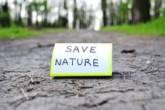 Save nature. Call save on the nature of the road Stock Images