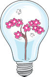 Save the nature. Vector illustration of fresh flower plant inside a light bulb symbolizing clean energy Stock Photography