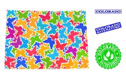 Save Nature Composition of Map of Colorado State with Butterflies and Textured Stamps vector illustration