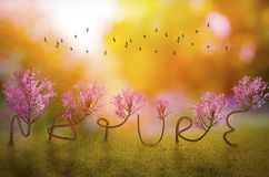 Save nature concept art Royalty Free Stock Images