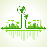 Save nature concept with eco cityscape Royalty Free Stock Images