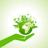 Save nature concept with eco cityscape Royalty Free Stock Photos